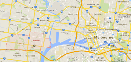 Yarraville in relation to Melbourne...turns out it's only 8km out of the city!