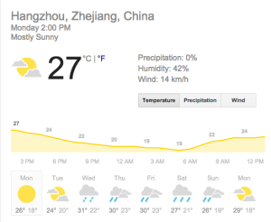 Current weather in Hangzhou. To prove it to you all.