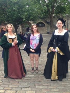 Random people dressed like Anne Boleyn and her ladies maid